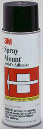 art supplies, SPRAY MOUNT ADHESIVE 3MSpray Mount is a fast, quick tack, repositionable yet permanent, all-purpose adhesive. It is crystal clear and won' t discolor