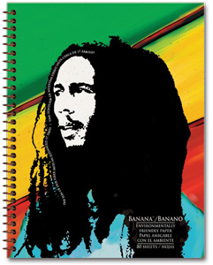 eco paper notebook with bob marley image on the front