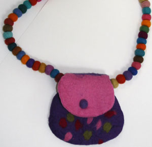 felt ball purse made in nepal, a fair trade felt fashion