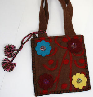 felt brown bag made in nepal, a fair trade felt fashion