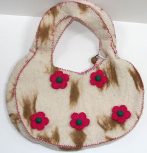 handemade felt brown bag made in nepal, a fair trade felt fashion