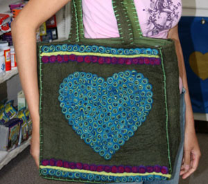 felt large bag made in nepal, a fair trade felt fashion