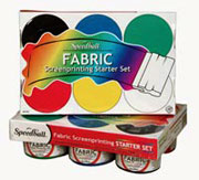 art supplies, FABRIC SCREEN PRINTING Starter SetSpeedball Co . This starter set includes six 4 oz. jars of fabric screen printing ink in black, blue, green, red, white and yellow.